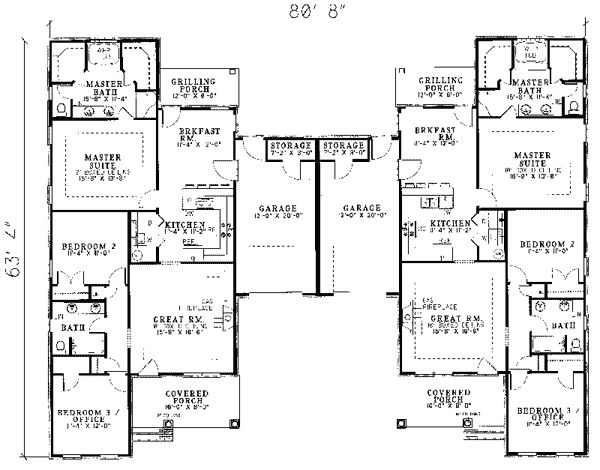 Sunset Farm Multi-Family Home Plan 055D-0060 | House Plans and More