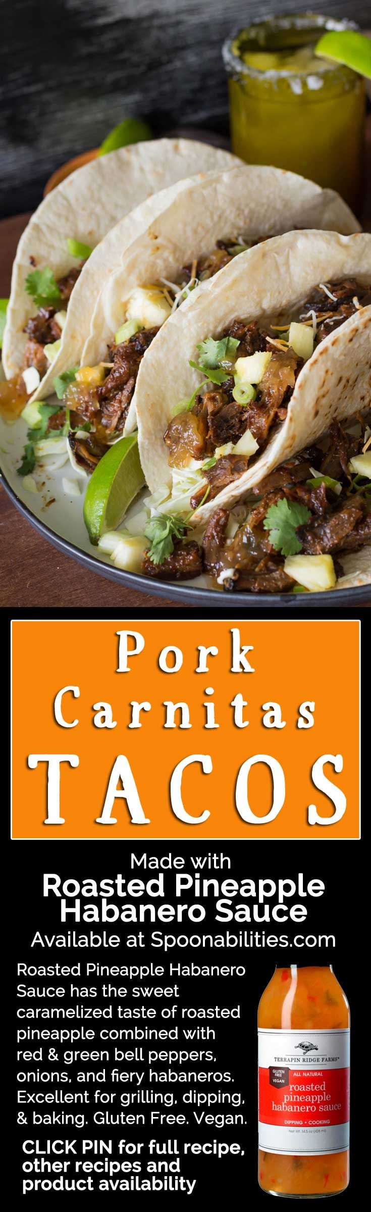 Slow braised Pork Carnitas as a filling for tacos. Pork braised with Roasted Pineapple Habanero Sauce from Terrapin Ridge Farms. Spoonabilities.com via @Spoonabilities