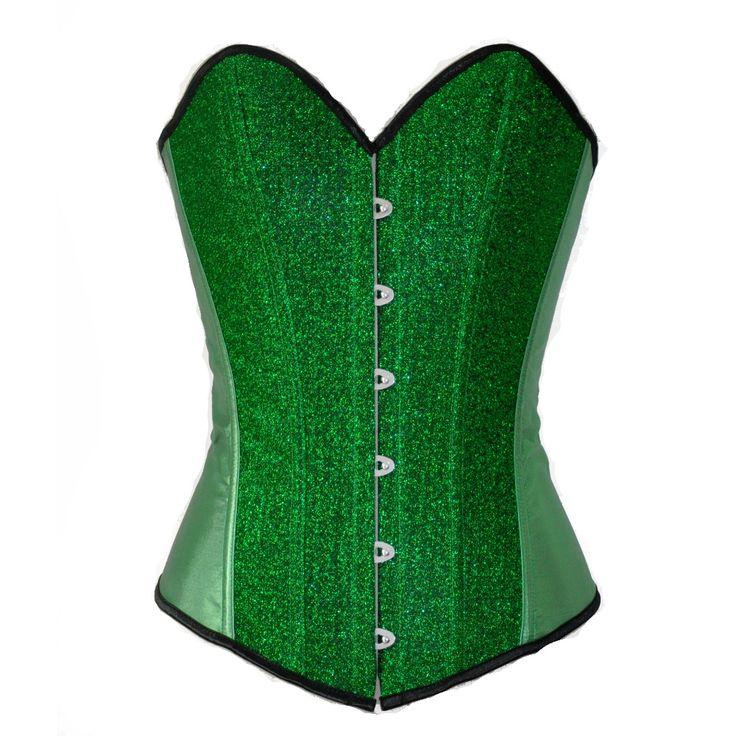 2017 Nieuwe Groene sexy satijn kant uitgebeend Sequin Burlesque corset bustier top