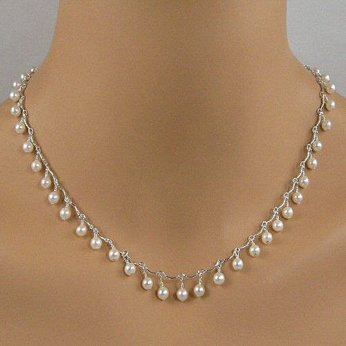 Lovely white pearl sterling silver scalloped chain necklace. BUY NOW http://jewelrybytali.com/products/white-pearl-sterling-silver-scalloped-chain-bridal-necklace