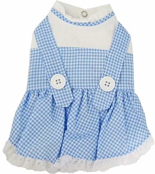 "Dorothy ""Wizard of Oz"" Dog Costume Dress in Gingham Check - Blue or Pink"