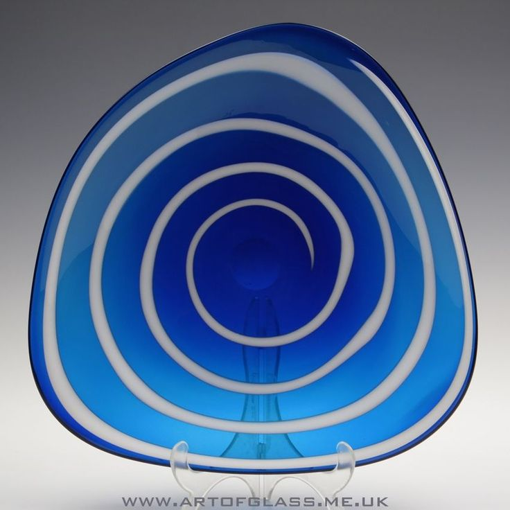 Whitefriars 9574 Whitefriars blue glass dish with white enamel spiral by Geoffrey Baxter