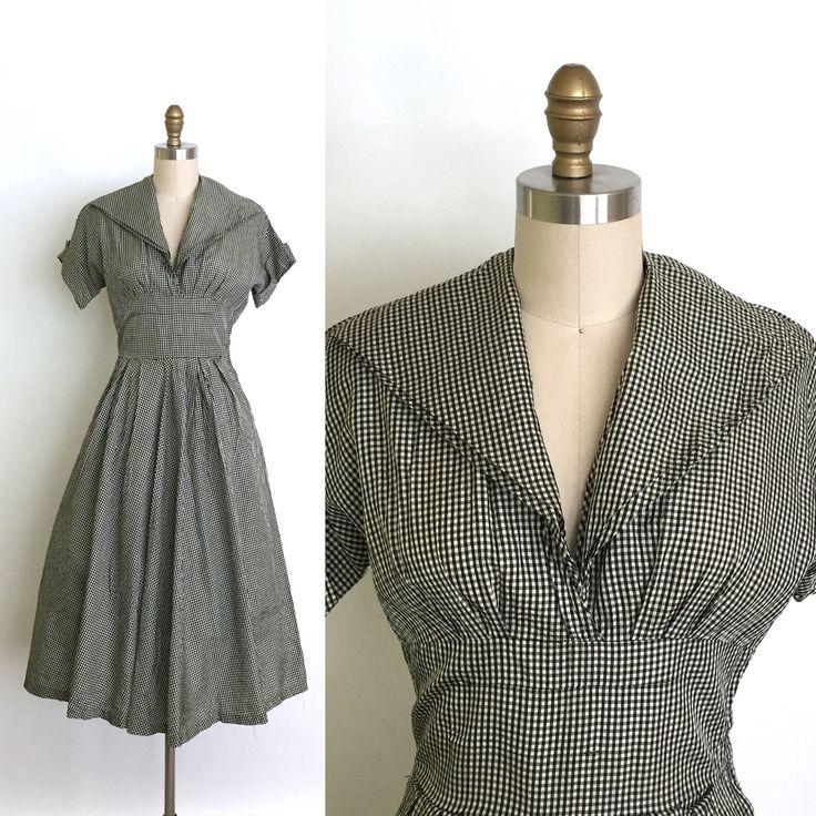 Vintage 1950s Dress // 50s Black Gingham Dress // Black and White Monochrome // Rockabilly Empire Waist + Full Skirt // I Love Lucy by DuchesseVintage on Etsy https://www.etsy.com/ca/listing/536719668/vintage-1950s-dress-50s-black-gingham