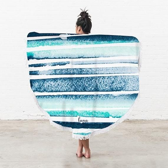 Personalised Round Beach Towel With Blue And White Striped Pattern