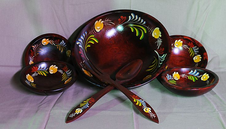 "Woodcroftery Salad Bowl 11"" Fork Spoon 4 6""Salad Bowl'S Floral Pattern | eBay"