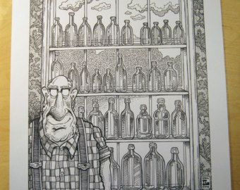 Original Art  -  Walter's Bottle Collection- Large Finished Ink Drawing and color print