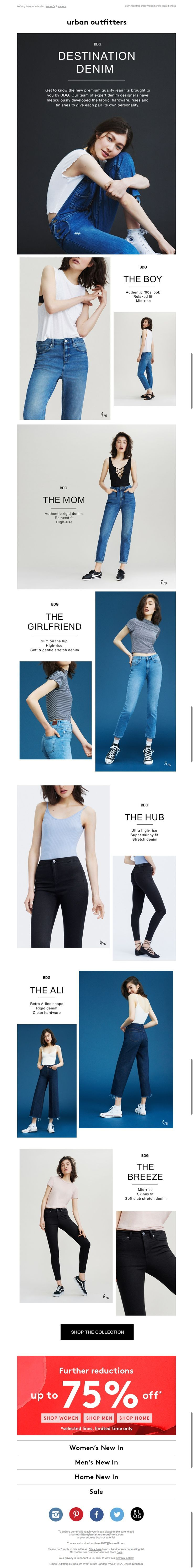 denim email from urban outfitters