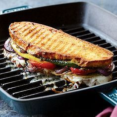 This vegetarian hot sandwich packs in savory eggplant and sweet bell peppers along with zucchini and red onions, all grilled to caramelize the sugars and create intense flavors. | best stuff