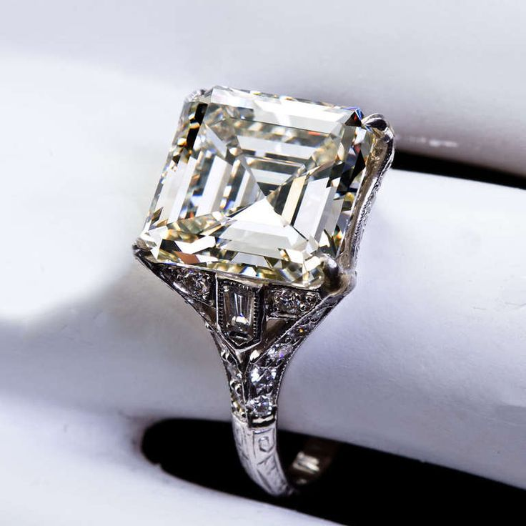 Art Deco 6 12 Carat Square Emerald Cut Diamond Engagement Ring