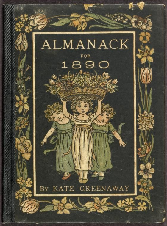 Image Title: Cover.1889 Creator: Greenaway, Kate, 1846-1901 -- Artist Source: Almanack for .... / Almanack for 1890 / by Kate Greenaway ; engraved & printed by E. Evans. Source Description: [24] p. : col. ill. ; 11 cm. Location: Stephen A. Schwarzman Building / George Arents Collection. #reading #books #greenaway