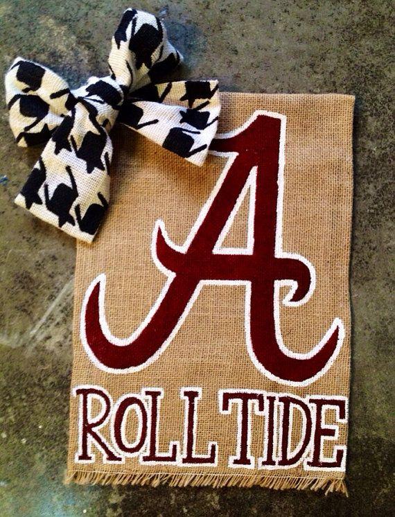 Alabama, Roll Tide, Burlap Garden Flag by WORLEYdesigns on Etsy #gardenflag