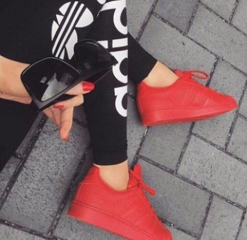 adidas red shoes- Adidas outfit ideas http://www.justtrendygirls.com/adidas-outfit-ideas/