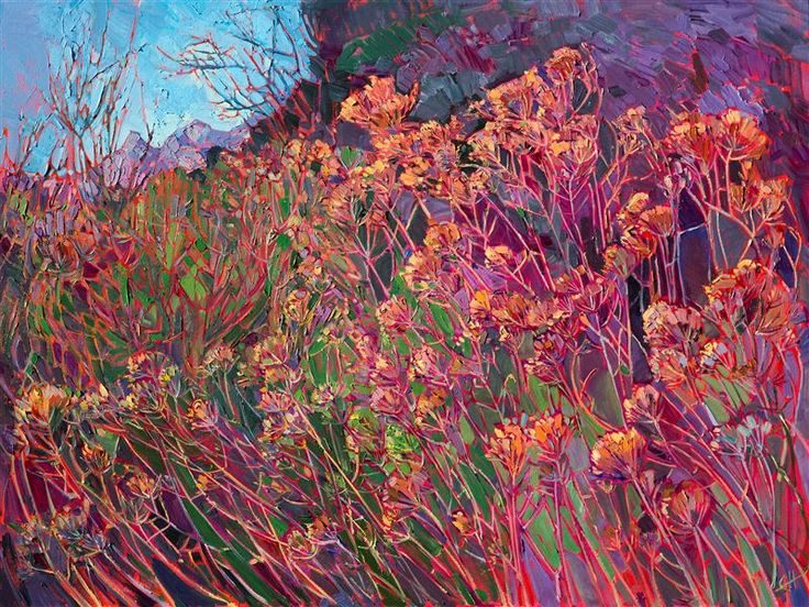 Wildflowers at Canyonlands National Park, painted in vibrant oils by Erin Hanson.  Canyonlands National Park is captured in abstracted color by artist Erin Hanson. The dusky-colored wildflowers stand in groves of color, forming stained glass shapes with their tall branches. The brush strokes are applied thickly, in a painterly fashion, allowing the natural movement of the landscape to come alive.