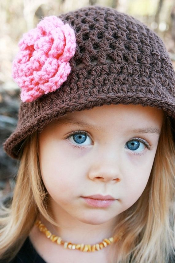 Items similar to Crochet Hat with Flower, Chocolate Brown, Pink Rose, Photo Prop, Newborn, Little Girl, Child Hat, Winter Hat on Etsy