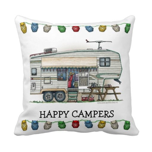Cute RV Vintage Fifth Wheel Camper Travel Trailer Pillows
