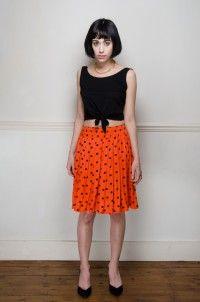 Retro orange polka dot pleated skirt