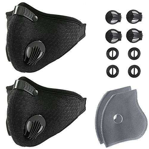 Activated Carbon Dustproof/Dust Mask - with Extra Filter Cotton Sheet and Valves for Exhaust Gas, Pollen Allergy, PM2.5, Running, Cycling, Outdoor Activities #Activated #Carbon #Dustproof/Dust #Mask #with #Extra #Filter #Cotton #Sheet #Valves #Exhaust #Gas, #Pollen #Allergy, #PM., #Running, #Cycling, #Outdoor #Activities