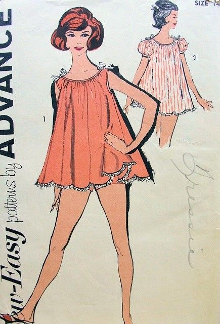 MAD MEN ERA1960s BABY DOLL NIGHTIE PATTERN ADVANCE 2739 SCALLOPED HEM SHORTIE PAJAMAS PULL ON UNDER SHORTS UNCUT Bust 38