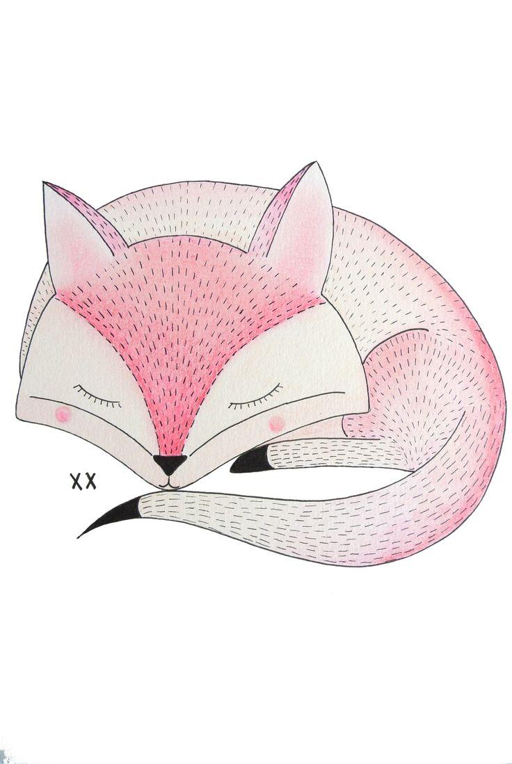 vos illustratie | fox illustration | www.kinderkamervintage.nl