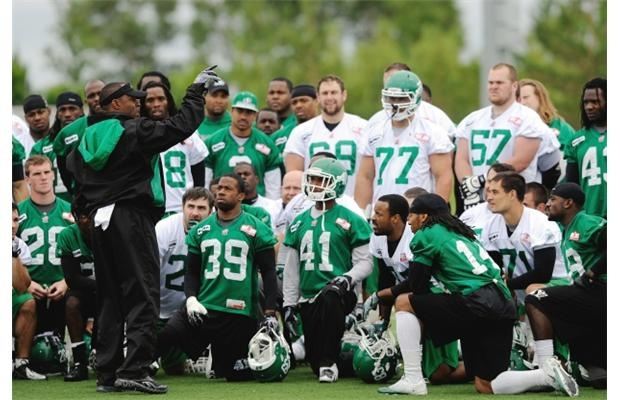 Yay #26! Saskatchewan Roughriders head coach Corey Chamblin speaks to the team at the conclusion of practice at the U of R in Regina, SK, June 18 2012.