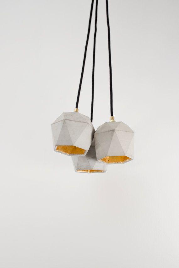 Beton Hängelampe B5 Lampe Gold groß minimalistisch von GANTlights