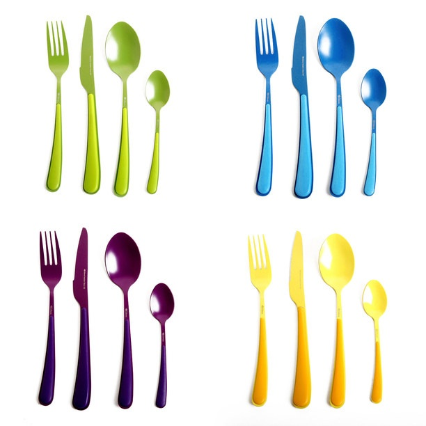 The Color Elements 16 Piece Set from Gibson is a simple, colorful collection of cutlery made from stainless steel.