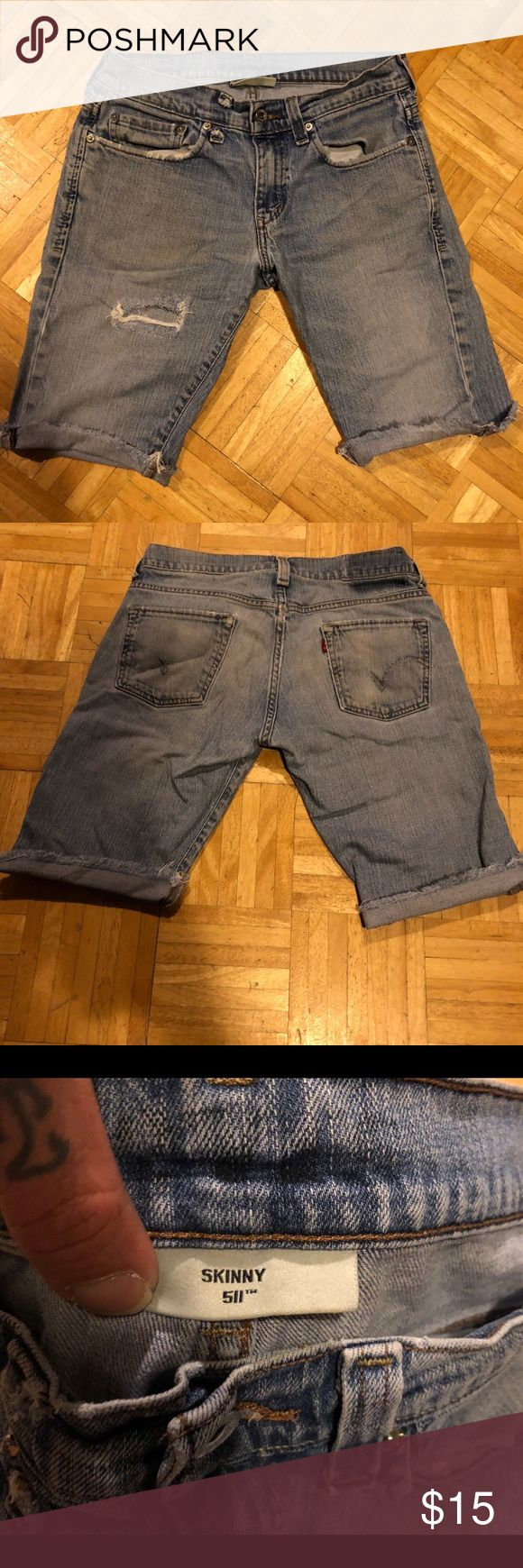 LEVIS 510 SUPER SKINNY CUTOFF BLUE JEAN SHORTS Perfectly tattered and worn for your comfort. Size 31/32 Levi's Shorts Jean Shorts