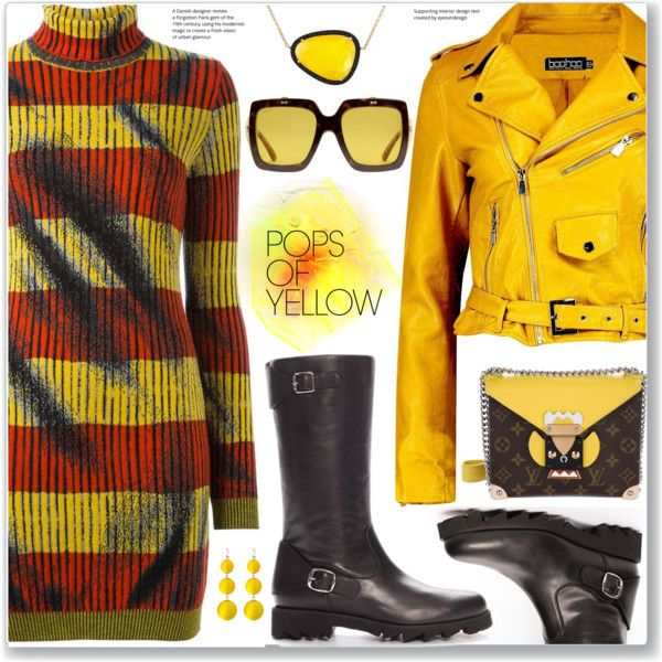 Edgy Style Pops of Yellow, Striped Dress, Leather Jacket, Knee Boots by jecakns on Polyvore featuring Moschino, Boohoo, Louis Vuitton, Christina Debs and Gucci