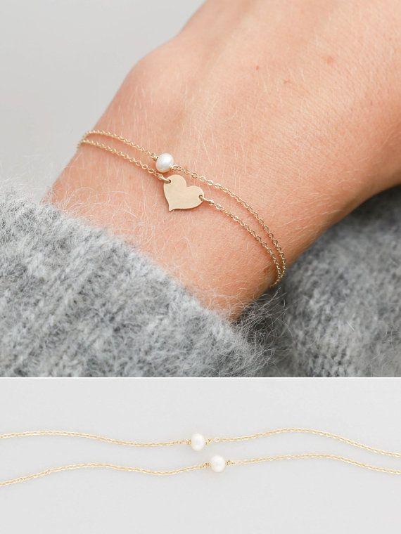 Dainty Pearl Link Bracelet Tiny Pearl Bracelet Gold