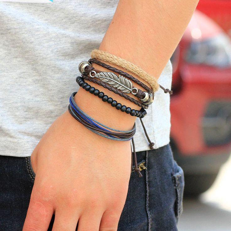 4 types Wood Beads Woven Leather Bracelet Leaf Pendant Unisex Bangle Chain at Banggood