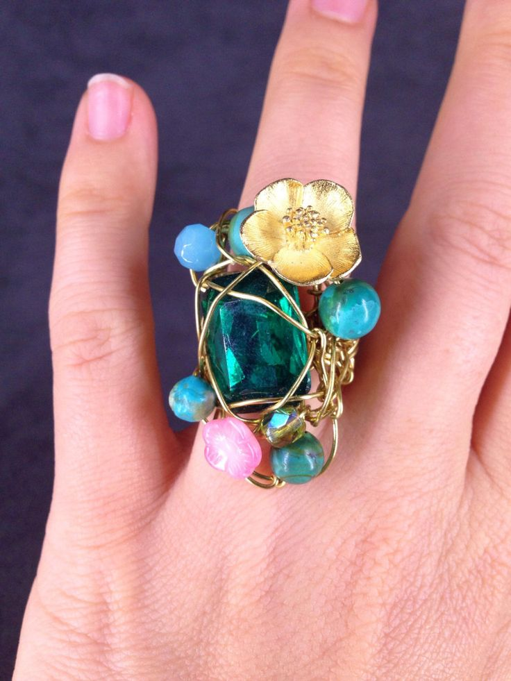 Emerald, Turquoise and Gold Statement Ring, Green and Blue Vintage Swarovski Rhinestone Ring by TrinesTreasures on Etsy
