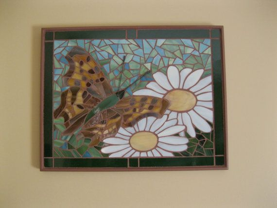 Butterfly and Daisies Mosaic   Wall Art  Art glass MO006