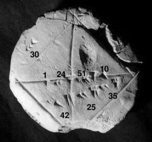 YBC 7289, aBabylonianclay tablet, ca. 1800-1600 BC, notable for containing an accuratesexagesimalapproximation to thesquare root of 2, the length of the diagonal of aunit square. (Yale Babylonian Collection)