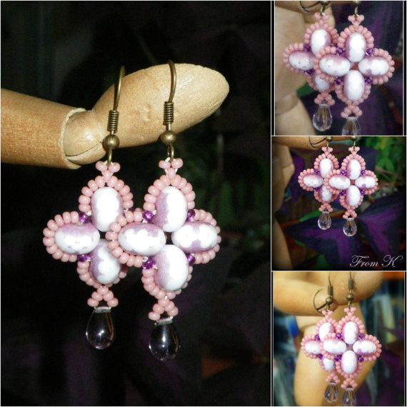 Beaded Earrings in pink and purple.  Czech Crystal and by FromK, $6.50