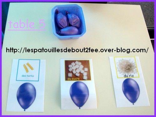 ballons sensoriels remplir des ballons avec des ingrédients divers (sucre, tortis, anis étoilé, lentilles, farine, riz....)