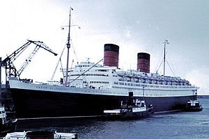 Dawson's grandfather came to America on the Queen Elizabeth.  RMS Queen Elizabeth was operated by Cunard Line. Built in the 1930's at Clydebank, Scotland. She caught fire while undergoing refurbishment in Hong Kong in 1972 and was partially scrapped where she lay.