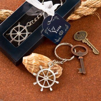Ship Wheel Design Nautical Themed Keychain