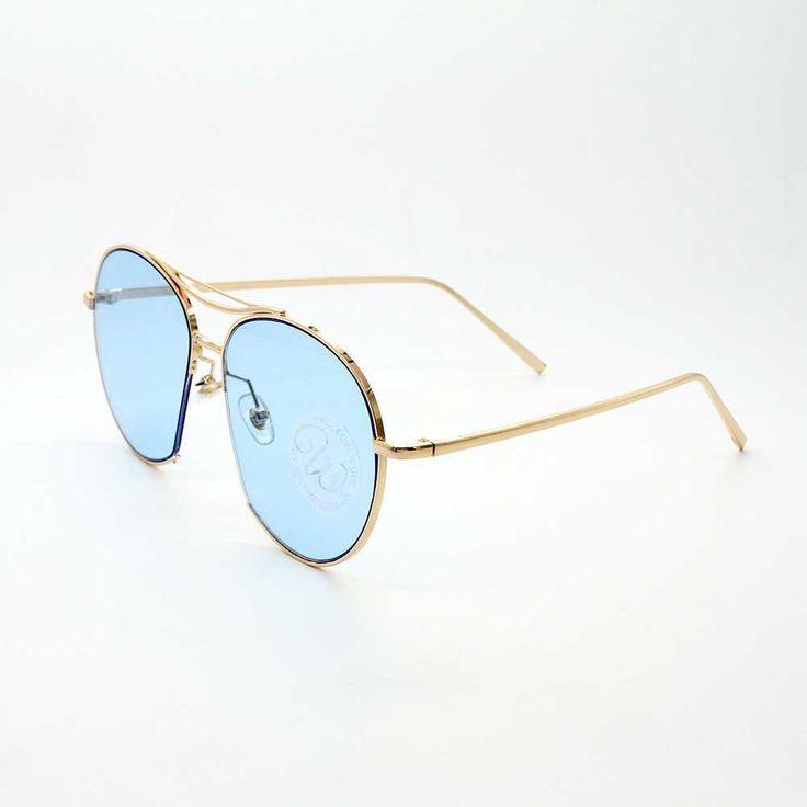 Retro Rounded Aviator Sunglass-Blue