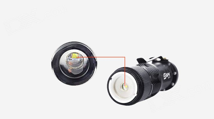 SIPIK SK68 120lm Convex Lens LED Zooming Flashlight w/ Q3-WC - Black - Free Shipping - DealExtreme