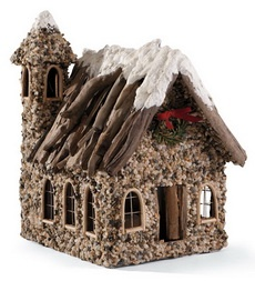 Handmade Wood and Stone Winter Church