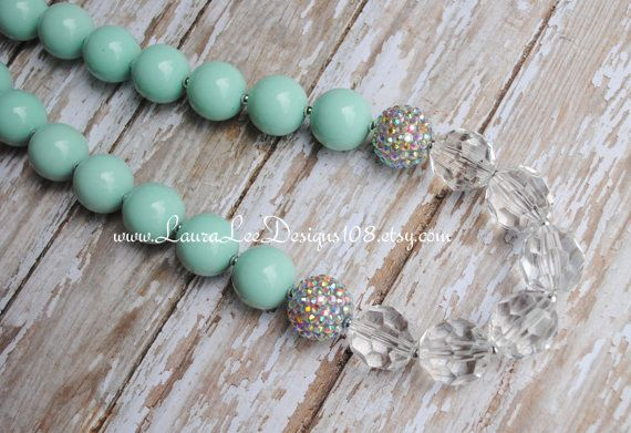 Mint, Clear and Silver Rhinestone Accents Bubblegum Necklace Photo Prop Adult Chunky Statement Necklace Toddler Necklace READY TO SHIP