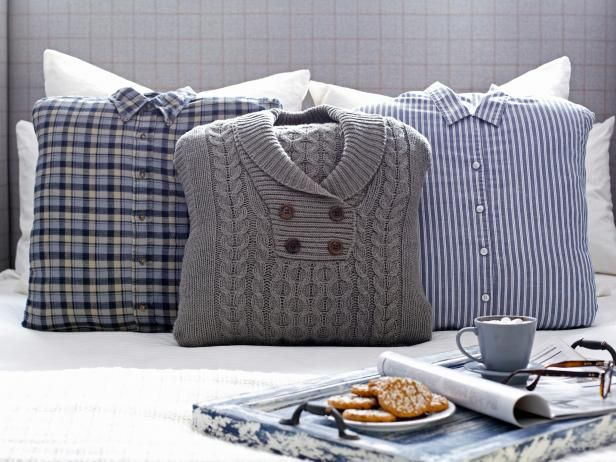 Add warm, menswear-inspired appeal to your bed pillows this winter with quick and easy-to-make slipcovers.