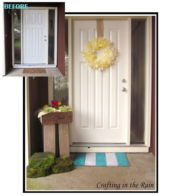 Spring Porch Update | Crafting in the Rain coffee filter wreath. moss covered stones. blue and white door mat.