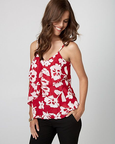 Floral Print Chiffon Ruffle Camisole - Gentle ruffles easily make a flattering statement on top of this smooth chiffon camisole finished with summery florals.