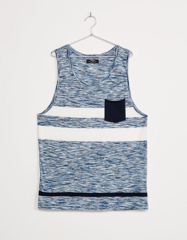 T-shirt de alças riscas e bolso contraste - New - Bershka Portugal