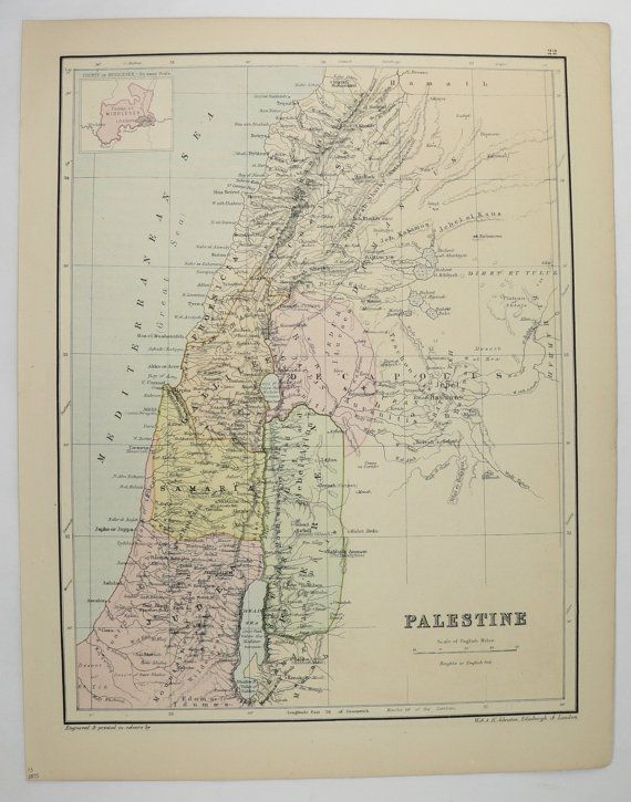 1875 Vintage Palestine Map, Oceania, Pacific Ocean Islands Map, 1875 Johnston Map, Palestine Holy Land Map, Tropical Islands Polynesia Map available from OldMapsandPrints.Etsy.com #Palestine #HolyLandMap #Polynesia #AntiqueOceaniaMap