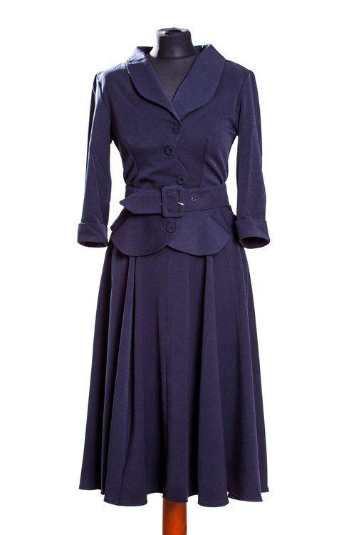 Miss Candyfloss Galina Rose Peplum Kleid Navy dress dark blue 1950s look vintage jurk donker blauw jaren 50 stijl www.luckylola.de