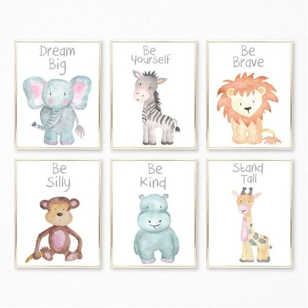 Cartoon Safari Animals Canvas Art Print Nursery Wall Pictures Wall Poster Wall Paintings Wall Art For Kids Bedroom Living Room Home Decoration Frame Not Include Baby Animal Nursery Nursery Animal Prints Baby