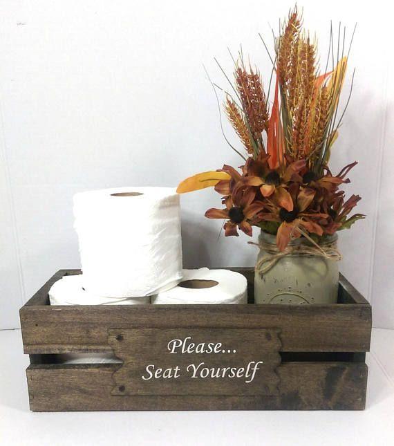 Rustic Handmade Wood Bathroom Caddy Toilet Tissue Box Holder