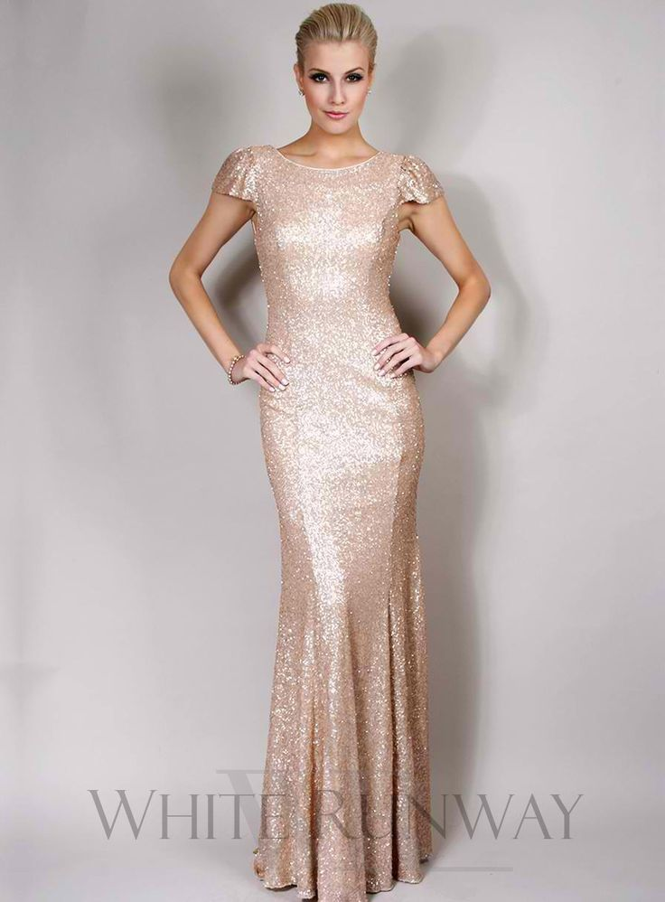 Sequinned Cap Sleeve Dress with Train - $399